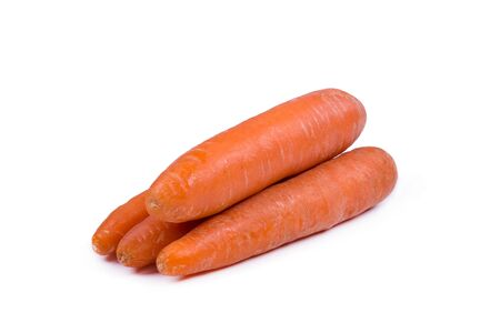 heap of peeled carrots on a white background, side view, closeup, object isolated
