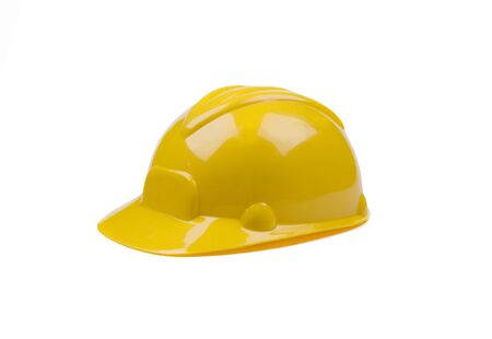 plastic construction helmet, color yellow, object isolated