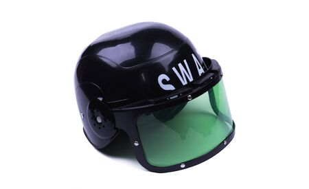 children Special Forces Helmet black plastic, object insulated, white background Фото со стока