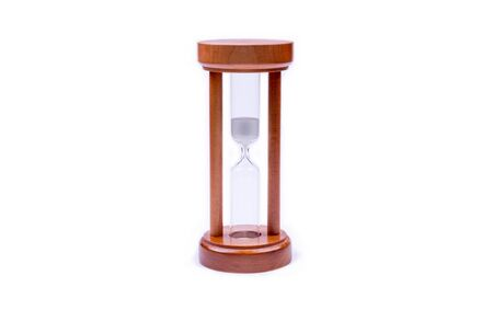 wooden, hourglass, photo on a white background, object isolated