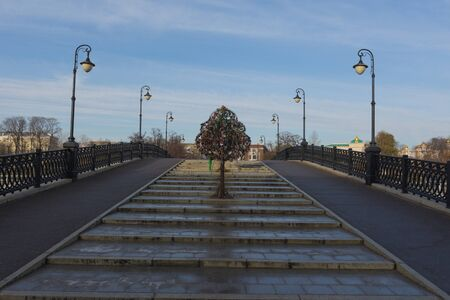 Russia, Moscow, November 15, 2019. View of the trees of love on the Luzhkov bridge in Moscow, photograph taken in late autumn on a sunny day.