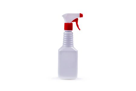 plastic, white container with a red dispenser, white background, object isolated