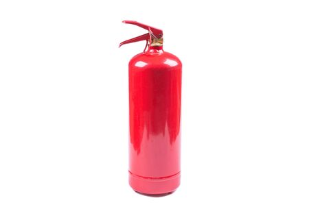red, car fire extinguisher, white background, object isolated, side view