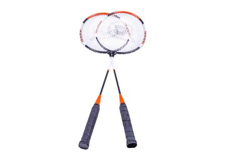 two badminton rackets, white background, isolated object, top view Фото со стока