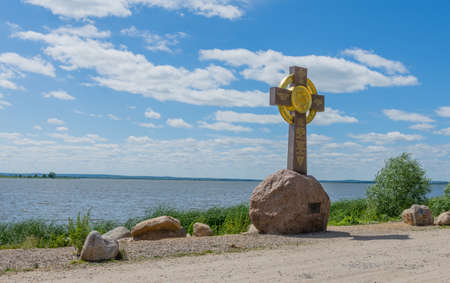 Russia June 30, 2020 the city of Rostov the Great, a view of the worship cross in Rostov the Great near Lake Nero, photo was taken on a sunny summer day