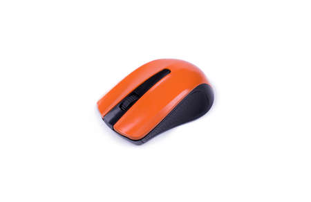 orange wireless mouse on white background, top view, object isolated