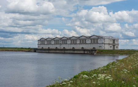 view of the hydroelectric power station on the Rybinsk reservoir, photo was taken on a sunny summer day