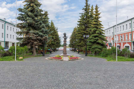 Russia July 1, 2020 Rybinsk, view of the monument to Admiral Ushakov, photo was taken on a sunny summer day on the Volga River embankment. Sajtókép
