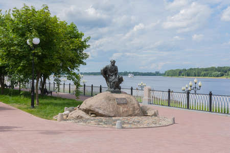 Russia July 1, 2020 Rybinsk, view of the Burlak monument, photo taken on a sunny summer day on the Volga river embankment