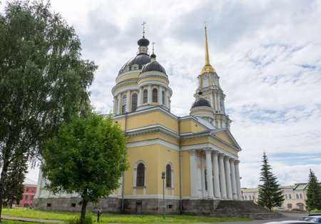 Russia July 1, 2020 Rybinsk, view of the Transfiguration Cathedral, photo taken on a cloudy day