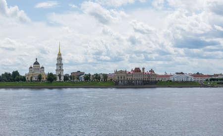 Russia July 1, 2020 Rybinsk view of the Transfiguration Cathedral and the new grain exchange, photo was taken in summer in cloudy weather Sajtókép