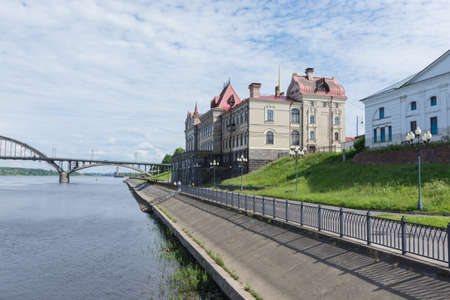 Russia July 1, 2020 Rybinsk, View of the Volga and the grain exchange on the river embankment