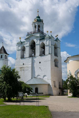 Russia July 2, 2020 Yaroslavl, view of the belfry in the Yaroslavl Museum Reserve, photo was taken on a sunny summer day