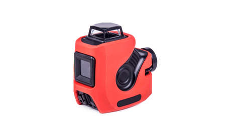 3d laser level orange, object is isolated on white background, side view