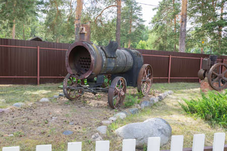 Russia July 02, 2020 Pereslavl-Zalessky, view of the old narrow-gauge railway and wagons at the Pereslavl Railway Museum, photo taken on a sunny summer day