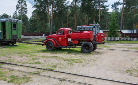 Russia July 02, 2020 Pereslavl-Zalessky, view of an old fire engine in the Pereslavl Railway Museum, photo taken on a sunny summer day Sajtókép