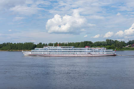 Russia July 1, 2020 Rybinsk, view of the cruise liner Georgy Zhukov floating on the Volga River, photo was taken on a sunny summer day