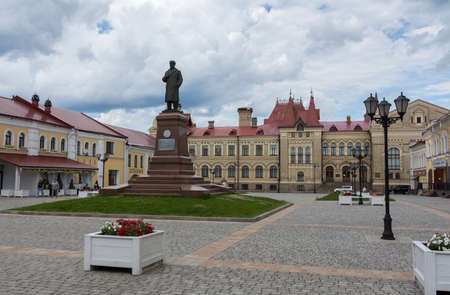 Russia July 1, 2020 Rybinsk, view of the monument to Lenin on the Red Square in Rybinsk, photo taken in summer in cloudy weather