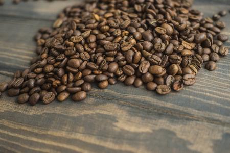 Coffee background, black coffe beans, closeup, arabica