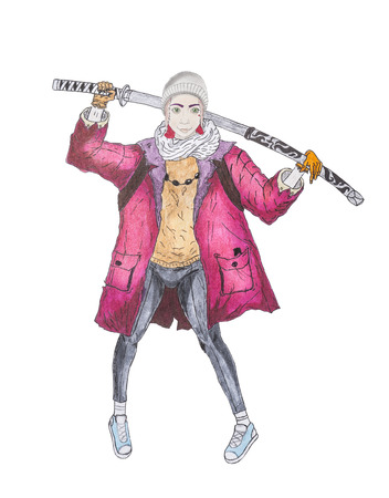 blade: Modern teenage girl with a katana sword in jeans and a red cloak, hand draw, isolated on white ground