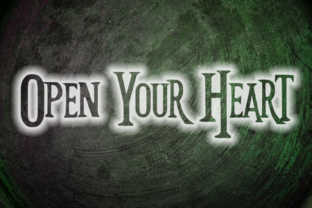 open your heart: Open Your Heart Concept text on background Stock Photo
