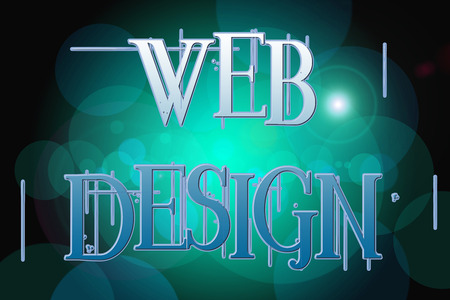 distributed: Web Design word on vintage bokeh background, concept sign idea Stock Photo