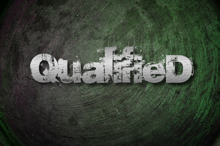 qualified: Qualified Concept text on background Stock Photo