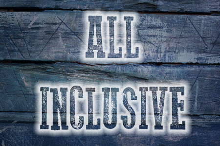 inclusive: All Inclusive Concept text on background Stock Photo