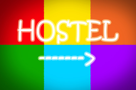 Hostel Concept text on background idea photo