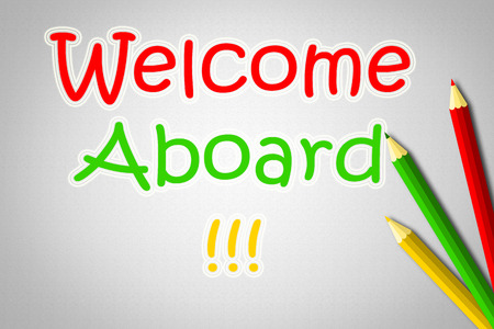 aboard: Welcome Aboard Concept text on background Stock Photo