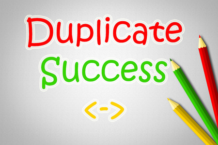 duplicate: Duplicate Success Concept text on background