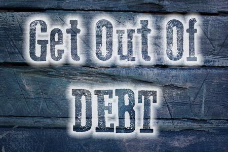 score: Get Out Of Debt Concept text on background