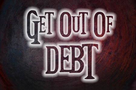 Get Out Of Debt Concept text on background photo