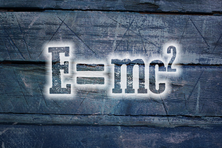 Albert Einsteins Physical Formula Concept text on background