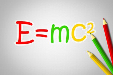 Albert Einsteins Physical Formula Concept text on background photo