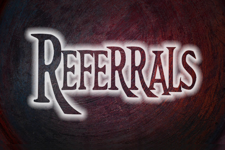 definition define: Referrals Concept text on background Stock Photo