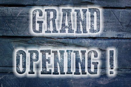 grand: Grand Opening Concept text on background