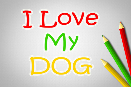 I Love Dog Concept text on background photo