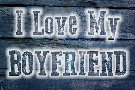 I Love My Boyfriend Concept text on background photo
