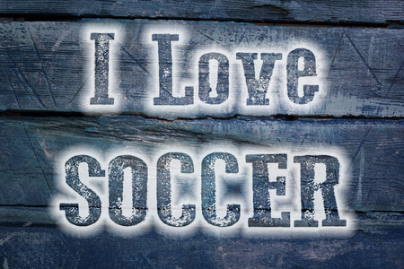 I Love Soccer Concept text on background photo
