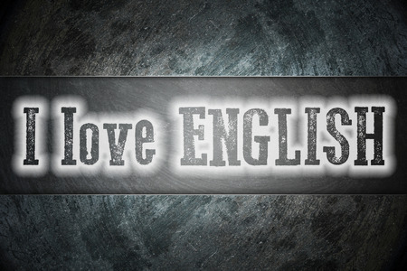 I Love English Concept text on background photo