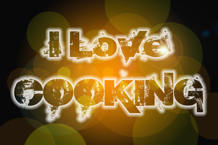 i love paris: I Love Cooking Concept text on background Stock Photo