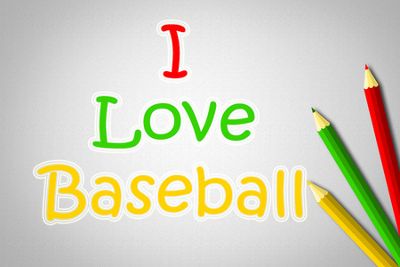 I Love Baseball Concept text on background photo