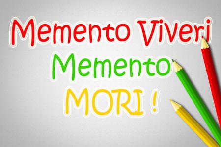 philosophical: Memento Viveri Memento Mori Concept text on background Stock Photo