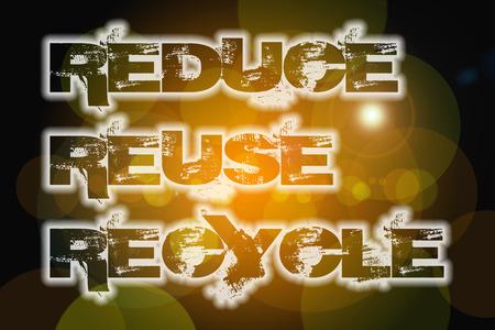 reduce reutiliza recicla: Reducir texto Reutilizar Reciclar concepto sobre fondo