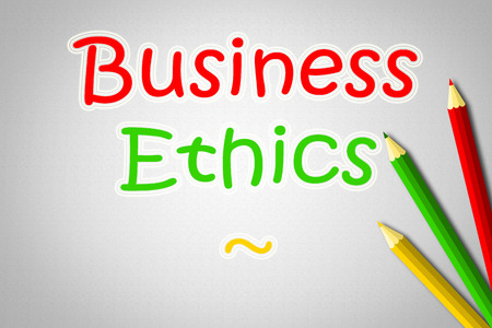 Business Ethics Concept text on background photo