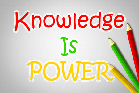 Knowledge is power concept text on background
