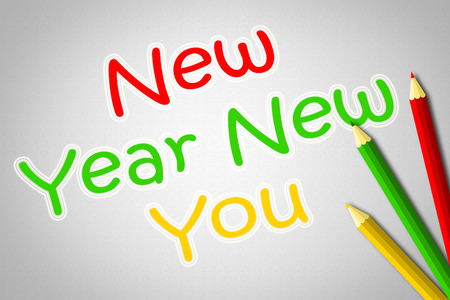 brighter: New Year New You Concept text on background