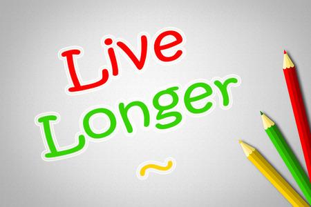 longer: Live Longer Concept text on background