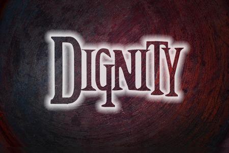 dignit�: Texte dignit� de Concept sur fond